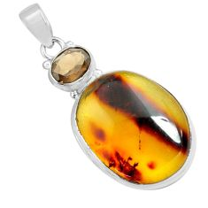 17.93cts natural green amber from colombia smoky topaz 925 silver pendant p71889