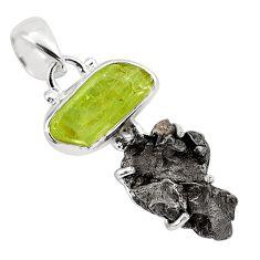 14.53cts natural green apatite rough campo del cielo 925 silver pendant p87163