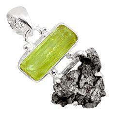 15.15cts natural green apatite rough campo del cielo 925 silver pendant p87165