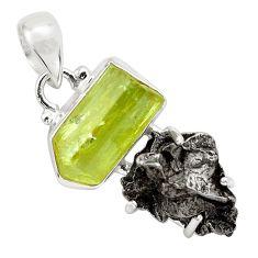 17.33cts natural green apatite rough campo del cielo 925 silver pendant p87166