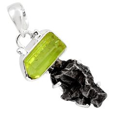 17.33cts natural green apatite rough campo del cielo 925 silver pendant p87170
