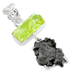 Clearance Sale- 17.53cts natural green apatite rough meteorite gibeon 925 silver pendant d31977