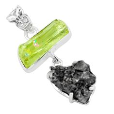 22.09cts natural green apatite rough meteorite gibeon 925 silver pendant d31979