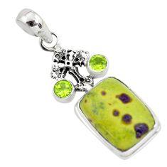 Natural green atlantisite stichtite-serpentine 925 silver cross pendant p55208