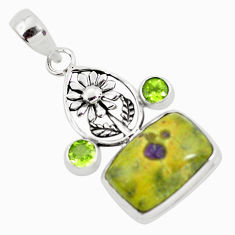 Natural green atlantisite stichtite-serpentine 925 silver flower pendant p55202