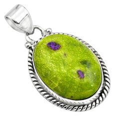 16.20cts natural green atlantisite stichtite-serpentine silver pendant p85537