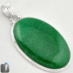 45.08cts NATURAL GREEN AVENTURINE 925 STERLING SILVER PENDANT JEWELRY F2513