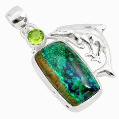 16.51cts natural green azurite malachite 925 silver dolphin pendant p79347