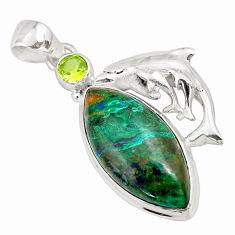18.51cts natural green azurite malachite 925 silver dolphin pendant p79349