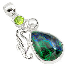 16.44cts natural green azurite malachite 925 silver seahorse pendant p79325