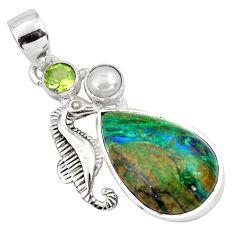 15.76cts natural green azurite malachite 925 silver seahorse pendant p79327