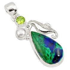 14.08cts natural green azurite malachite 925 silver seahorse pendant p79332