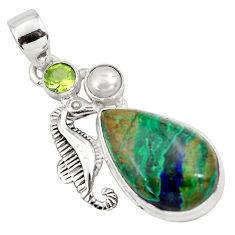 16.17cts natural green azurite malachite 925 silver seahorse pendant p79333
