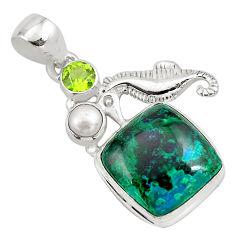 14.88cts natural green azurite malachite 925 silver seahorse pendant p79340