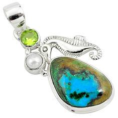 14.41cts natural green azurite malachite 925 silver seahorse pendant p79353