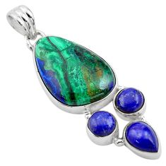 21.48cts natural green azurite malachite lapis lazuli 925 silver pendant p84537