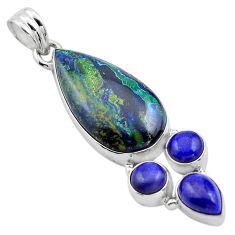20.65cts natural green azurite malachite lapis lazuli 925 silver pendant p84542