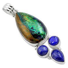21.72cts natural green azurite malachite lapis lazuli 925 silver pendant p84544