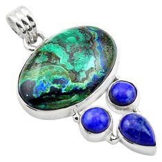 25.57cts natural green azurite malachite lapis lazuli 925 silver pendant p84547