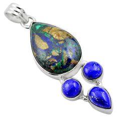 20.88cts natural green azurite malachite lapis lazuli 925 silver pendant p84549