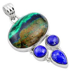 22.59cts natural green azurite malachite lapis lazuli 925 silver pendant p84551