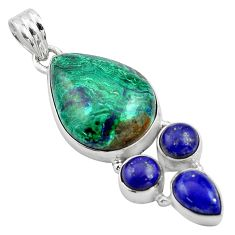 22.03cts natural green azurite malachite lapis lazuli 925 silver pendant p84553