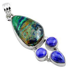 22.05cts natural green azurite malachite lapis lazuli 925 silver pendant p84555