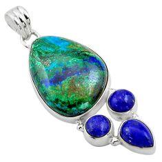 26.70cts natural green azurite malachite lapis lazuli 925 silver pendant p84557