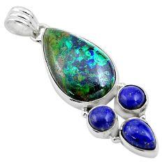 22.59cts natural green azurite malachite lapis lazuli 925 silver pendant p84565