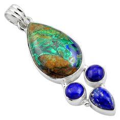 22.41cts natural green azurite malachite lapis lazuli 925 silver pendant p84568