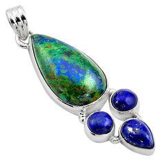 21.20cts natural green azurite malachite lapis lazuli 925 silver pendant p84575
