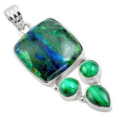 23.48cts natural green azurite malachite malachite 925 silver pendant p84521