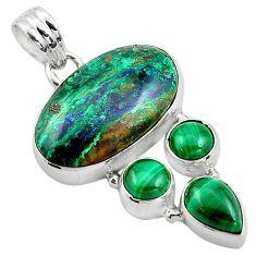 20.05cts natural green azurite malachite malachite 925 silver pendant p84523
