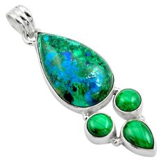 24.38cts natural green azurite malachite malachite 925 silver pendant p84528