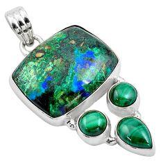 25.57cts natural green azurite malachite malachite 925 silver pendant p84540