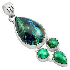 20.65cts natural green azurite malachite malachite 925 silver pendant p84543
