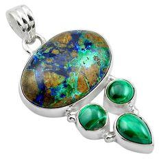 22.54cts natural green azurite malachite malachite 925 silver pendant p84546