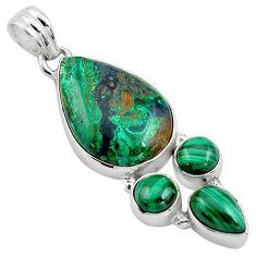 20.07cts natural green azurite malachite malachite 925 silver pendant p84552