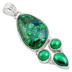 22.05cts natural green azurite malachite malachite 925 silver pendant p84556