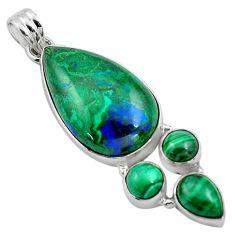 25.57cts natural green azurite malachite malachite 925 silver pendant p84562