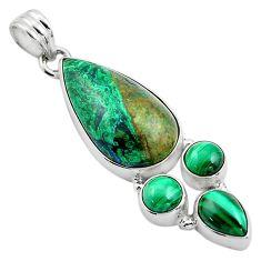 20.15cts natural green azurite malachite malachite 925 silver pendant p84580