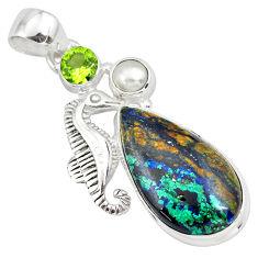 14.12cts natural green azurite malachite pearl silver seahorse pendant p79351