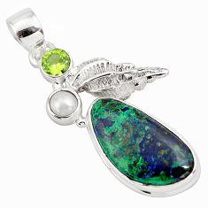 14.41cts natural green azurite malachite peridot 925 silver pendant p79342
