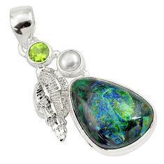14.88cts natural green azurite malachite peridot 925 silver pendant p79343