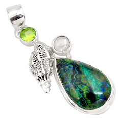 14.12cts natural green azurite malachite peridot 925 silver pendant p79346