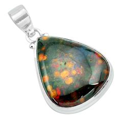 22.05cts natural green bloodstone african (heliotrope) 925 silver pendant p66341