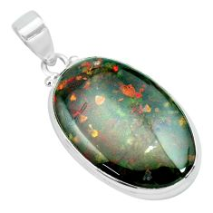 24.00cts natural green bloodstone african (heliotrope) 925 silver pendant p66346