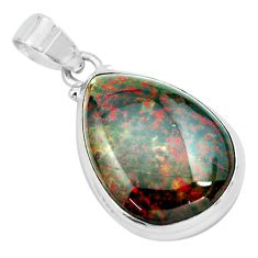 21.48cts natural green bloodstone african (heliotrope) 925 silver pendant p66347