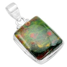 18.70cts natural green bloodstone african (heliotrope) 925 silver pendant p66387