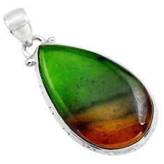15.90cts natural green bloodstone african (heliotrope) 925 silver pendant p85480
